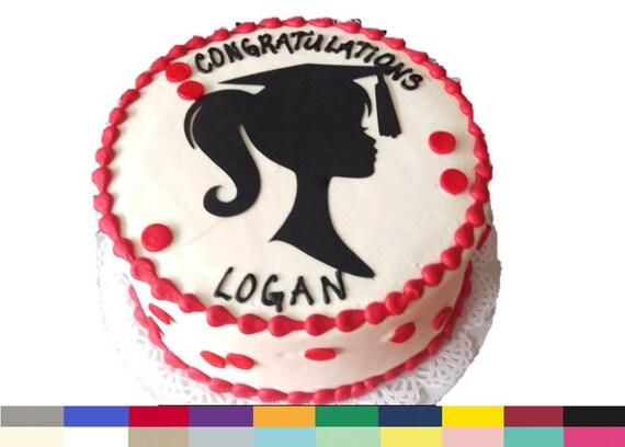 Graduation Cake Topper Girl Graduation Girl Silhouette Party Etsy