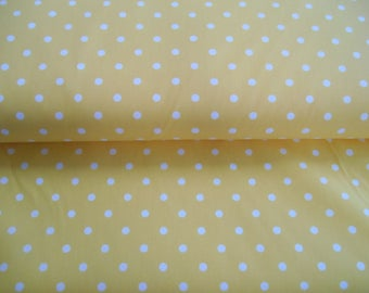 """Yellow polka dot twill 35% cotton 65 polyester fabric 1 yd x 65"""" wide FREE SHIP"""
