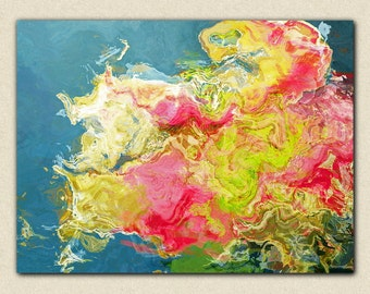 """Abstract contemporary art stretched canvas print, 30x40 to 40x54 giclee in pink flambé and ultramarine green, from abstract painting """"Aria"""""""