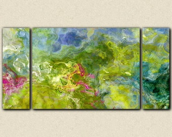 "Large triptych abstract expressionism stretched canvas print, 30x60 to 40x78 giclee in blue and green, from abstract painting ""Garden Party"""