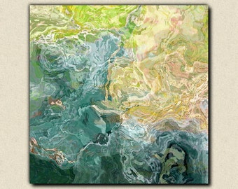 "Contemporary abstract art, 24x24 to 36x36 canvas print with gallery wrap, in blue, green and aqua, from abstract painting ""Sea Breeze"""