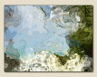 "Large abstract expressionism, 30x40 to 40x54 giclee stretched canvas print, in blue and green, from abstract painting ""In Clear Pools"""