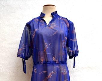 CHIFFON Blue FLORAL Print Vintage 1970's DRESS