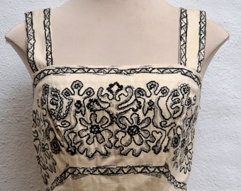 Incredible 1930's- 1940's Fitted EMBROIDERED LINEN Wiggle DRESS.  Size Xsmall