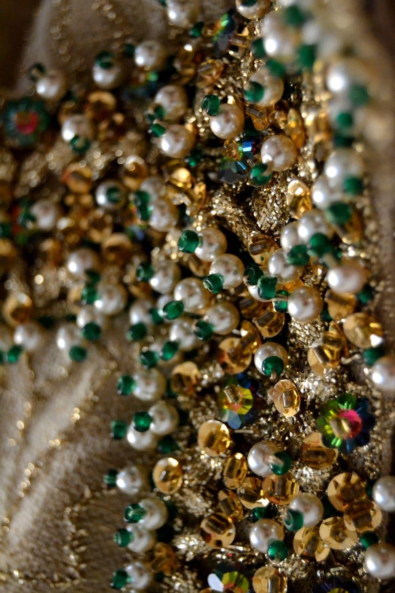BARCELONA DESIGNER Vintage DRESS 1960's Gold Lurex Hand Beaded  Size Medium