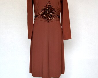 Amazing EMBELLISHED with Sequins, Beads and Crystals 1960's DESIGNER Villa Marco Barcelona DRESS