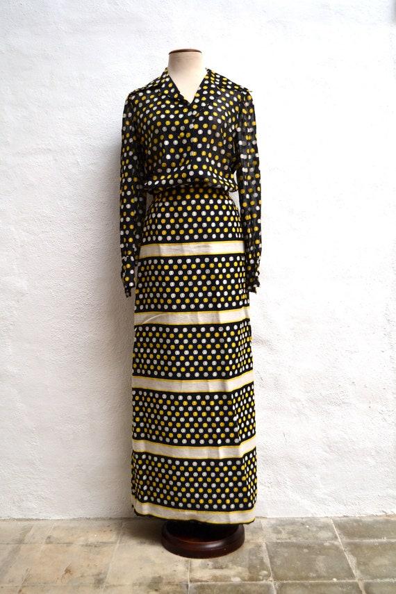 Wonderful Vintage 1960's Matching Polka Dot CHIFFO