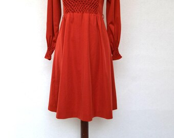 Beautiful Pin Tucked DRESS in a Wonderful Red-Orange Color. Incredible Detailing, Hand Finished 1970's Dress from BARCELONA.