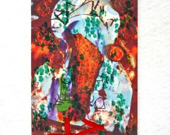 All Night Long- Fiber Art, Mixed Media, Textile Embroidered Original Art Work.
