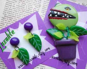 Audrey II Venus Flytrap novelty brooch and earrings inspired by Little Shop of Horrors - by Luxulite