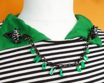 Double Bats Ghoul gang Pins! Vintage bakelite fakelite inspired pinup Halloween brooch by Luxulite