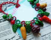 1940s Costume Jewelry: Necklaces, Earrings, Brooch, Bracelets Harvest Veggies  Handmade 1940s style  Statement Bakelite Fakelite novelty vegetables necklace by Luxulite $47.39 AT vintagedancer.com