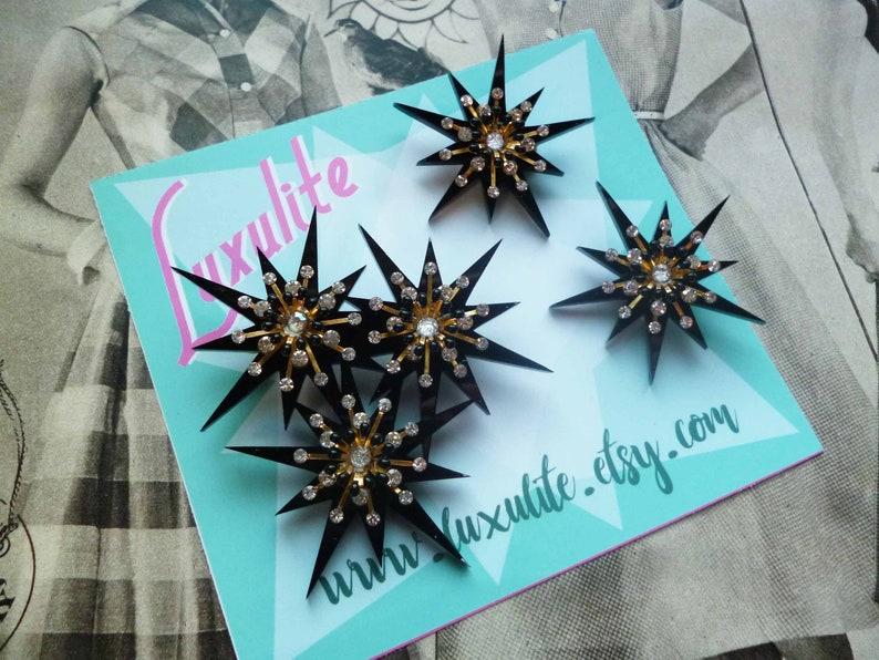 vintage inspired pinup jewels by Luxulite Black Starburst Sparkle atomic starburst design XL statement scatter brooch set