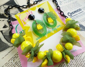 NEW! Banana Garland - 1940's inspired fruit salad necklace - vintage style handmade by Luxulite