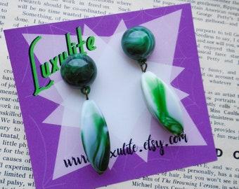 Green swirls- 1940s 50s bakelite inspired fakelite dangle earrings by Luxulite