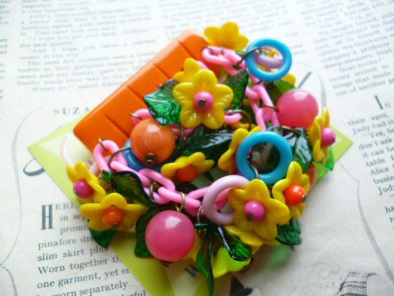 Floral cascade brooch Summer Meadow by Luxulite Handmade 1940s style