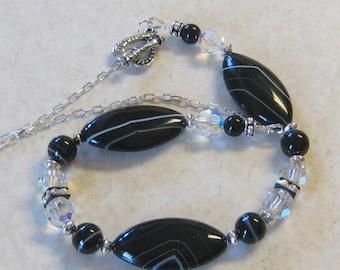 Black White Choker Sardonyx  Swarovski Sterling Crystal Beaded with Heart Toggle