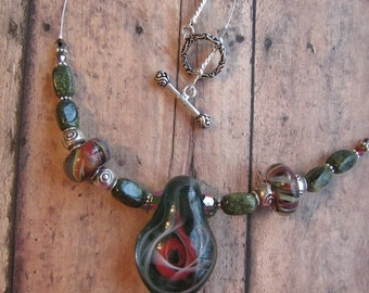 Unique Glass choker Fall Forest  Pendant Peacock Kaleidoscope of Color Teal and Cranberry