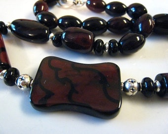 Choker Chocolate  Agate  Chunky Pendant Beaded Rootbeer Stones CHOCOLATE Madness