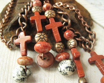 Organic Cross Vintage Button Jasper and Copper Beaded Stone Necklace