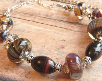 Statement Piece Choker Amber Stone,  Sterling Choker Cocoa Amber, Berry, Sage, Ocean Beaded Choker KALEIDOSCOPE OF COLOR