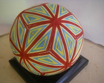 Hand made Temari ball (red, blue)