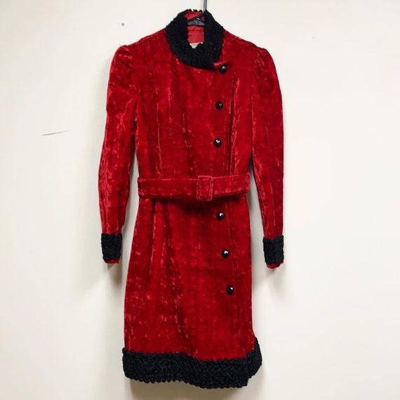 VTG 1970s Young Edwardian Red & Black Coat