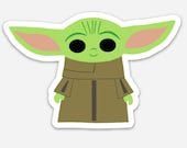 Baby Alien | Baby Space Alien | Child | Baby Yoda-inspired Sticker, Decal