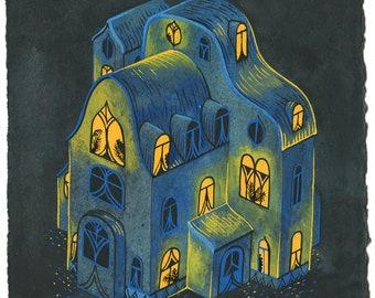 Original Painting - Blue House I