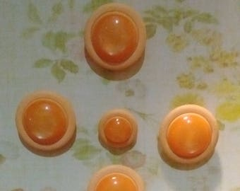 Six Plastic Buttons Cantaloupe Color