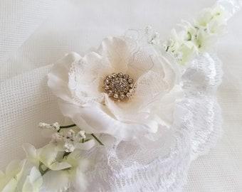 White Lace Wedding Dog Flower Collar Floral Photo Prop Statement Crown Neck Ribbon Tie Rhinestone Embellished Handmade by handcraftusa etsy