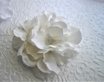 White Or Fuchsia Realistic Hydrangea Hair Clip Statement Silky Feel Millinery Embellishment Hand Fashioned by Handcraftusa