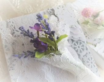 Keepsake Box For Wedding Vows Rings Mementos Shabby Chic Lace Tussie Mussie Hand Decorated Flowers Gift Box Handmade by handcraftusa