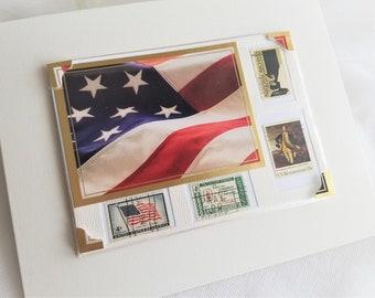 American Flag Vintage Stamp Frameable Keepsake Card Gift For Him Handmade by handcraftUSA