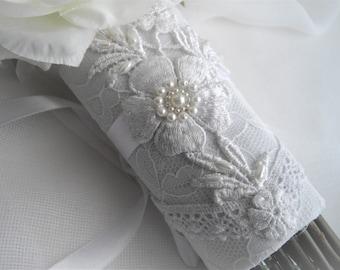 Bouquet Wrap Wedding Flower White Bouquet Candle Wrap One Size Fits All Bouquets Lace Ivory White Applique Vintage Bouquet Accessory Bride