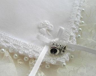 Shamrock Hankie Seen At Martha Stewart Weddings Irish Wedding Handkerchief With White Shamrock Crochet Edge by handcraftusa