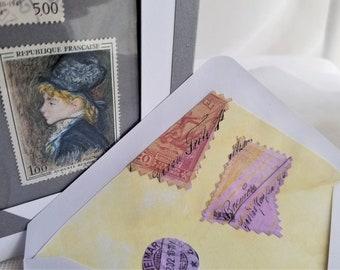 Vintage Art Stamps Frameable Gift For Him Ready To Gift Artist Renoir Handmade Lined Envelope Gift Card Designed by HandcraftUSA etsy.