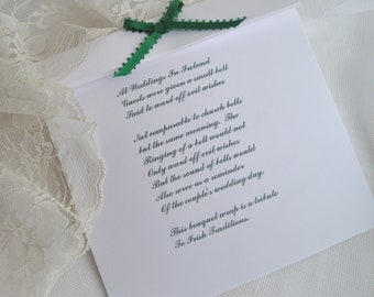 Irish History Card With Bells To Be Added On To The Purchase Of Handkerchief Or Bouquet Wraps by handcraftusa etsy