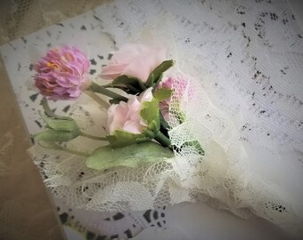 Shabby Chic Wedding Ring Box Mini Tussie Mussie Bouquet Ring Bearer Alternative Hand Decorated With Lace and Flowers handmade handcraftusa