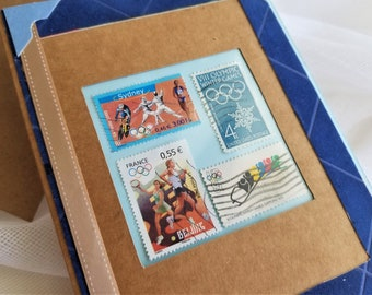 Olympic Collectible Frameable 5 x 7 Card Vintage Stamps One Of A Kind Gift Card Designed by handcraftUSA etsy