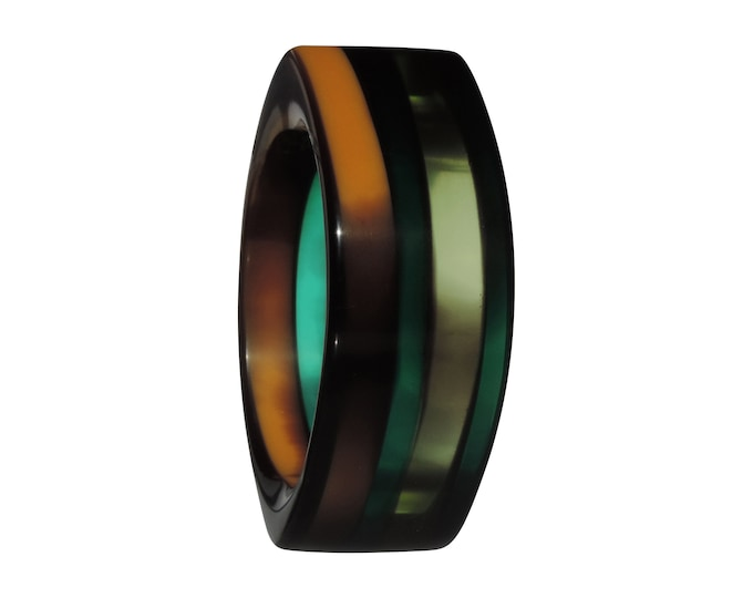 Featured listing image: Bangle Resin Green Blue Orange Translucent Shiny Finish Out of Africa 3 Unique Artist-Made Jewelry