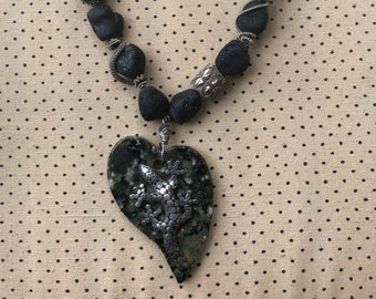 Heart shaped Agate Stone, Black Tourmaline , One-of-a-kind necklace, Statement jewelry, Beaded necklace, Wearable art