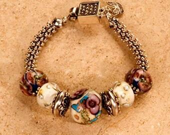 Beaded bracelet, Lampwork glass beads,