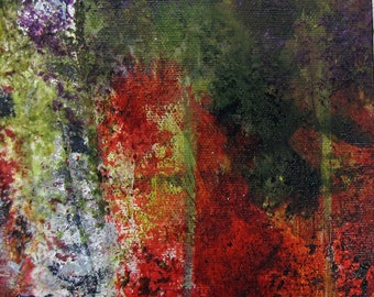 Painting Original Art #Aflame in the Forest #Abstract Design #modern #Contemporary Reds Greens Orange