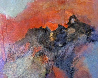 Art Original Painting Contemporary Abstract Acrylic and Collage Landscape