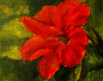 Original Art Acrylic Flower Painting Colors are Red, Orange, Green
