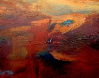 Painting #Beautiful Wall Art #Surreal Abstract Image #Mixed Media # Reds #Gold #Blue #Home Decor