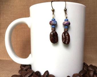 Coffee Bean Earrings - Star Queen Nebula - Authentic Fair Trade Coffee Bean Earrings...FREE U.S. SHIPPING