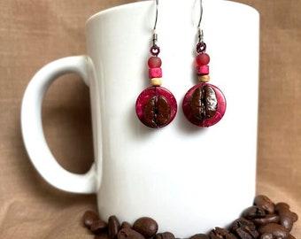 Coffee Bean Earrings - Dragon Fruit and Coffee - Authentic Fair Trade Coffee Bean Earrings...FREE U.S. SHIPPING
