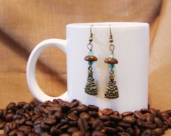 Oh Christmas Tree...Authentic Fair Trade Coffee Bean Earrings .. FREE SHIPPING
